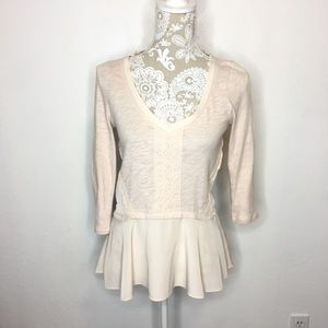 Meadow Rue Anthro Tunic Blouse Peach Lace XS 765